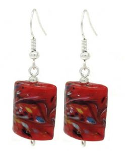 Contemporary Mix Red Murano Glass Drop Earrings